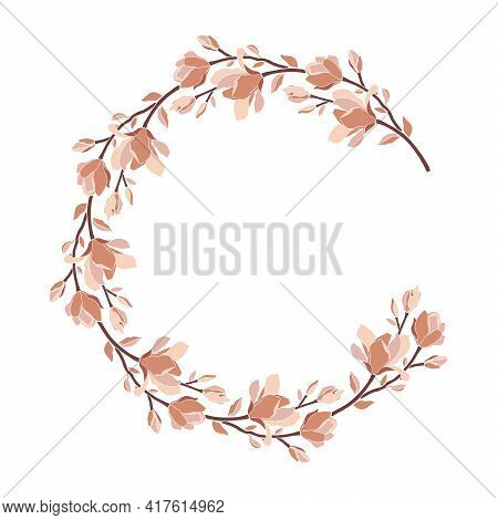 Floral Frame, Wreath With Magnolia Blooming Flowers, Buds, Branches, Leaves. Vector Illustration In