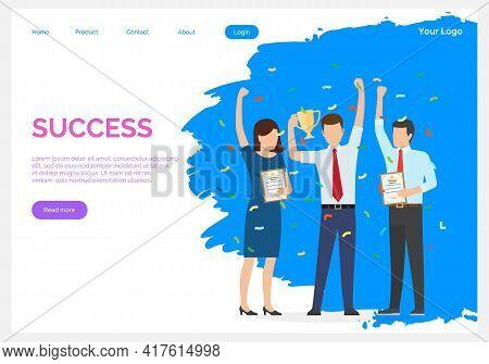Success Banner. Winner Vision, Reaching The Goal, Business Target. Successful Teamwork Strategy