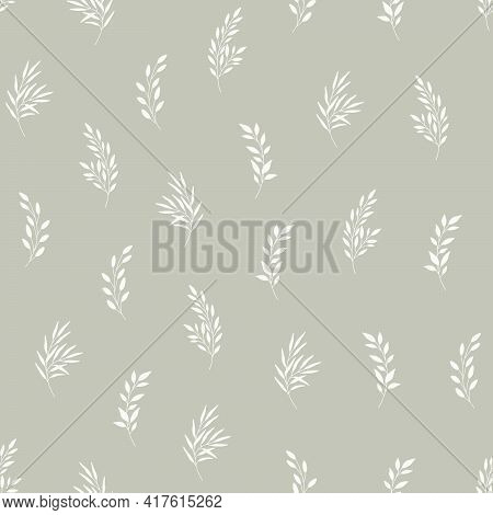Seamless Pattern With Leaves. Natural Eco Friendly Background. Hand Drawn Vector Illustration In Mod
