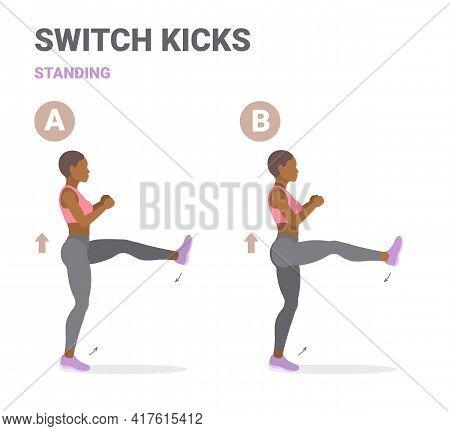 Girl Doing Switch Kicks Exercise. African-american Woman Demonstrating Kicks Switching Legs Guidance