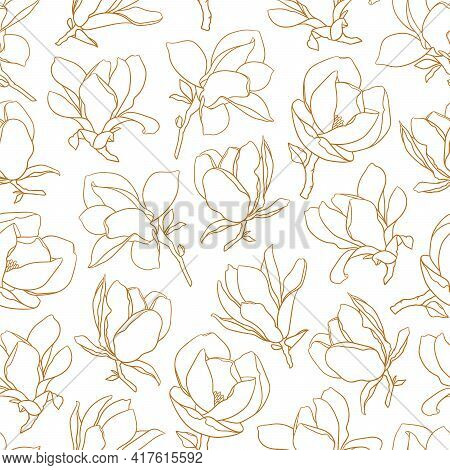 Seamless Pattern With Magnolia Flowers. Modern Minimalistic Style, Gold Line Blooming Buds On Branch