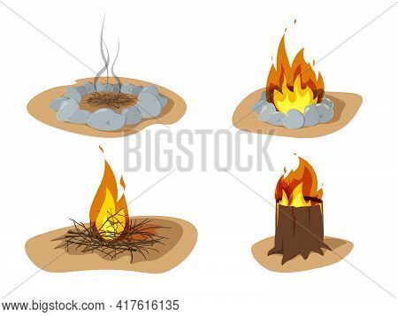 Vector Illustration Of Flame And Fire Sign. Campfire And Firewood Set Isolated On White. Stages Of M