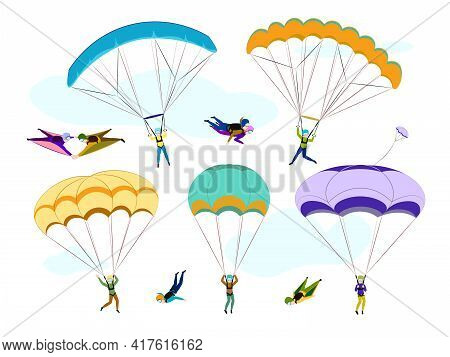 Set Of Skydivers. Collection Of Professional Skydiving People. Extreme Hobby. Cartoon Skydivers. Par