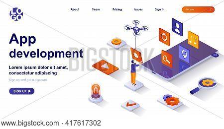 App Development Isometric Landing Page. Developer Work On Smartphone Mobile App Isometry Concept. Mo