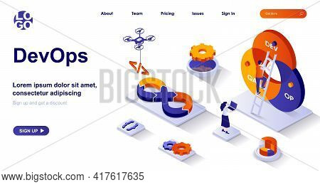Devops Isometric Landing Page. Development Operations Isometry Concept. Developers Team Works, Confi