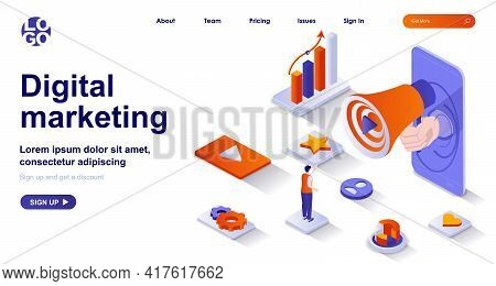 Digital Marketing Isometric Landing Page. Online Advertising Promotion Isometry Concept. Attraction