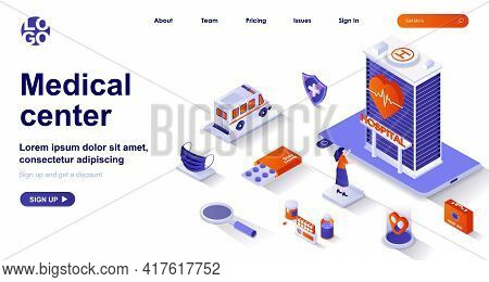 Medical Center Isometric Landing Page. Healthcare And Medical Services Isometry Concept. Hospital, A