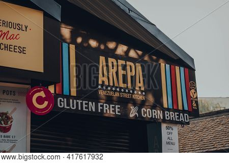 London, Uk - August 12, 2020: Signs On The Arepa Stall In Camden Market. Started With 16 Stalls In 1