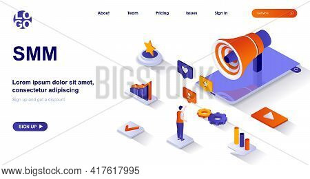 Smm Isometric Landing Page. Attracting Clients From Social Networks, Online Promotion Isometry Conce