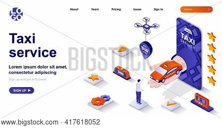 Taxi Service Isometric Landing Page. Passenger Transportation Mobile App Isometry Concept. Booking C
