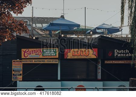 London, Uk - August 12, 2020: Closed Food Market Stalls In Camden Market. Started With 16 Stalls In
