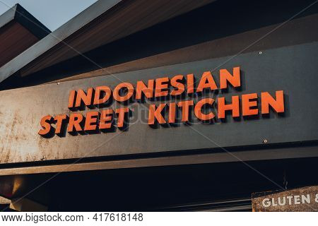London, Uk - August 12, 2020: Sign On The Indonesian Street Kitchen Stall In Camden Market. Started