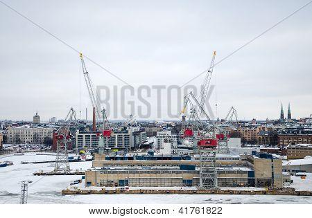 Panoramic Views Of The Shipyard.