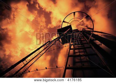 Refinery Ladder Under Evil Sky