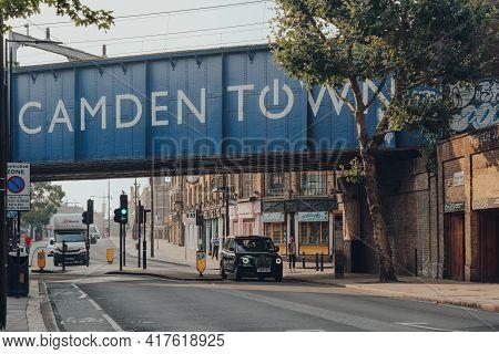 London, Uk - August 12, 2020: Iconic Camden Town Sign On The Railway Bridge Near Camden Market, One
