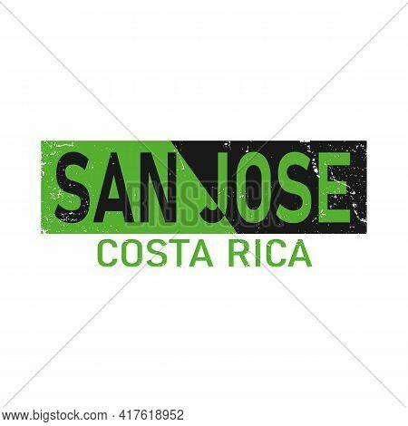 San Jose Costa Rica Card And Letter Design In Colorful Color And Typographic Icon Design
