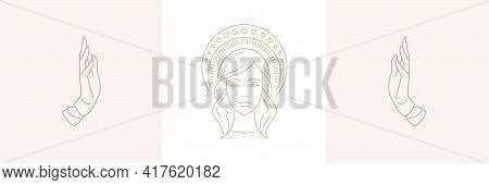 Magic Woman Face With Halo And Female Praying Hands Gestures In Boho Linear Style Vector Illustratio