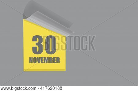 November 30. 30-th Day Of The Month, Calendar Date. Gray Numbers In A Yellow Window, On A Solid Isol