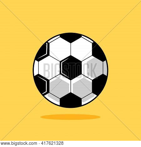 Football Ball. Cartoon Soccer Ball Isolated On Yellow Background. Vector Illustration