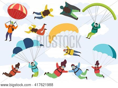 People Are Engaged In Extreme Parachuting. Free Fall Characters. Extreme Parachute Skydivers, Male A