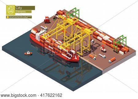 Vector Isometric Port Container Terminal And Ship
