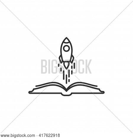 Open Book With Rocket Ship Flying Out. Isolated On White Background. Vector Flat Line Illustration.