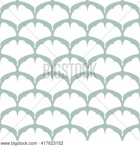 Seamless Floral Pattern White Ginkgo Biloba Leaves. Floral Texture On Turquoise Background. Hand Dra