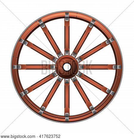 Wild West Wheel Vector Icon.cartoon Vector Icon Isolated On White Background Wild West Wheel.