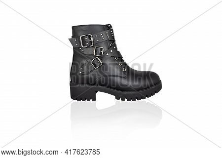 Black Lace-up Boot With Buckles And Straps, Isolated On White.