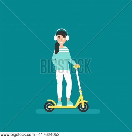Happy Girl With Kisk Scooter Or Balance Bike. Creative Hipster. Flat Vector Illustration Turquoise B