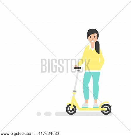 Happy Girl With Kisk Scooter Or Balance Bike. Creative Hipster. Flat Vector Illustration On White Ba