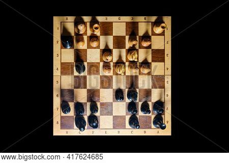 Checkmate On The Chessboard From The Black Queen To The White King, Top View