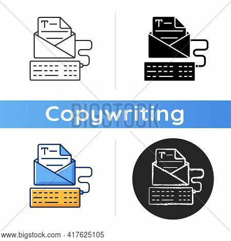 Newsletter Copywriting Icon. Copywriting Services. Typewriting, Typing With Keyboard. Writing Commer