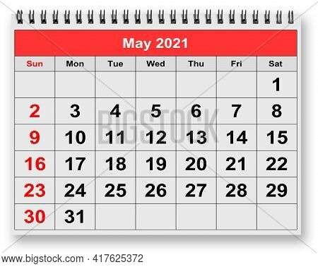One Page Of The Annual Monthly Calendar - May 2021