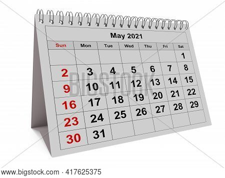One Page Of The Annual Monthly Calendar - Month May 2021. 3d Rendering