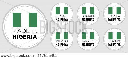Set Of Badge Logotype Made In Nigeria, On White Round Background, Symbol Logo For Packaging Design