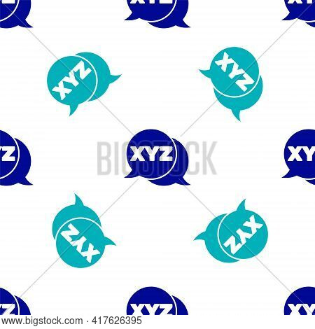 Blue Xyz Coordinate System Icon Isolated Seamless Pattern On White Background. Xyz Axis For Graph St