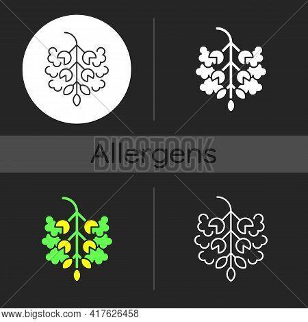 Poplar Tree Pollen Dark Theme Icon. Cottonwood Plant. Cause Of Allergic Reaction. Seasonal Allergen.