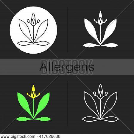 English Plantain Dark Theme Icon. Plantago Lanceolata. Flower Pollen As Allergen. Seasonal Allergy F