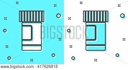 Black Line Medicine Bottle And Pills Icon Isolated On Green And White Background. Bottle Pill Sign.
