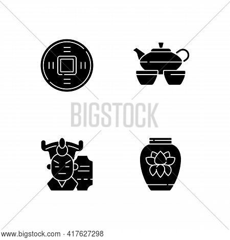 Asia Black Glyph Icons Set On White Space. Ancient Chinese Coin. Tea Set For Ceremony. Cantonese Ope