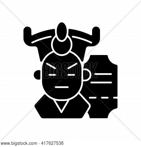 Chinese Opera Black Glyph Icon. Traditional Cantonese Performative Art. Classical Asian Theater In B