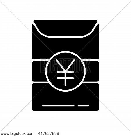 Hong Bao Black Glyph Icon. Ancient Chinese Tradition Of Gifting Money. Lunar New Year Celebration. P