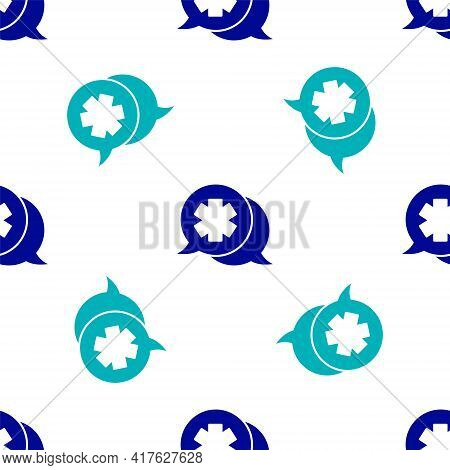 Blue Dialogue With The Doctor Icon Isolated Seamless Pattern On White Background. Doctor And Patient