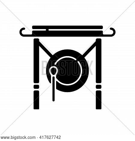 Chinese Gong Black Glyph Icon. Traditional Instrument For Announcement In China. Ancient Oriental Cu