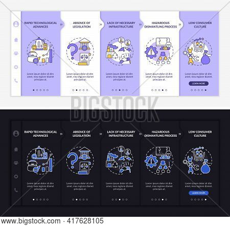 E-trash Manage Onboarding Vector Template. Responsive Mobile Website With Icons. Web Page Walkthroug