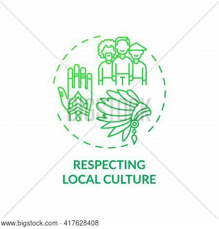 Respecting Local Culture Concept Icon. Green Hotel Features. Sense Of Identity For Rural National Co