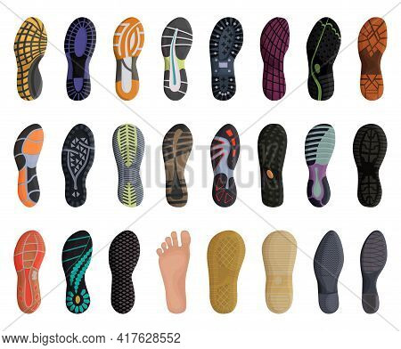Footprint Shoe Vector Cartoon Set Icon. Vector Illustration Sole On White Background. Isolated Carto