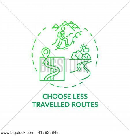 Choose Less Travelled Routes Concept Icon. Sustainable Tourism Ideas. Beautiful Travelling Routes Fo