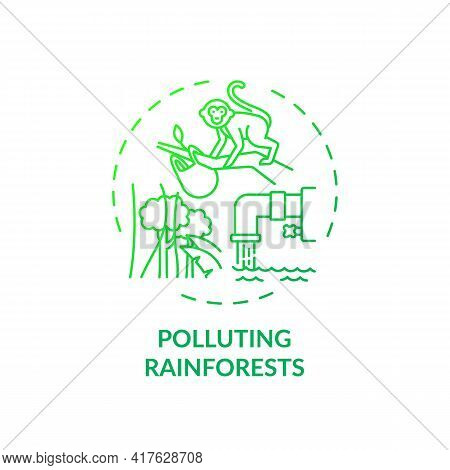 Polluting Rainforests Concept Icon. Green Tourism Challenges. People Decreasing Amount Of Trees In F